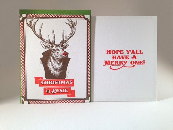 Letterpress Christmas in Dixie holiday card