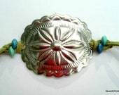 Leather and Concho Bracelet with Wooden Beads - Plus Size