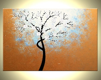 Original Abstract Tree  TEXTURED Cherry Blossom Painting Flowers, 2x3ft Abstract Metallic WHITE Impasto FLORAL, 24x36 by Artist Dan Laffert