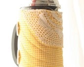 Coffee press cozy, French press cozy, Bodum cozy, cafetiere cozy, yellow lace - ChocolateDogStudio