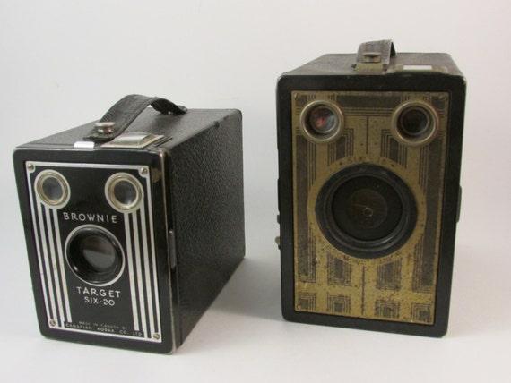 Vintage Camera Set of Two Brownie Cameras Brownie Jr Brownie Target Six