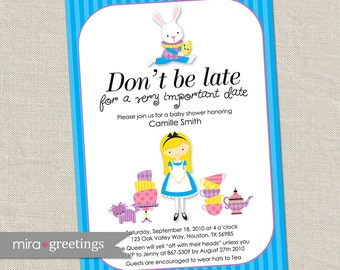 Alice in Wonderland Shower Invitation - Printable Digital File