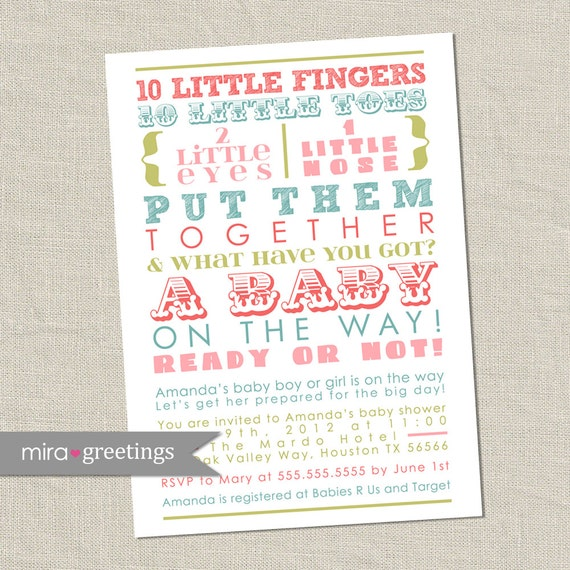 Girl Baby Shower Poems: Pastel Baby Shower Invitation Words Gender Neutral Baby