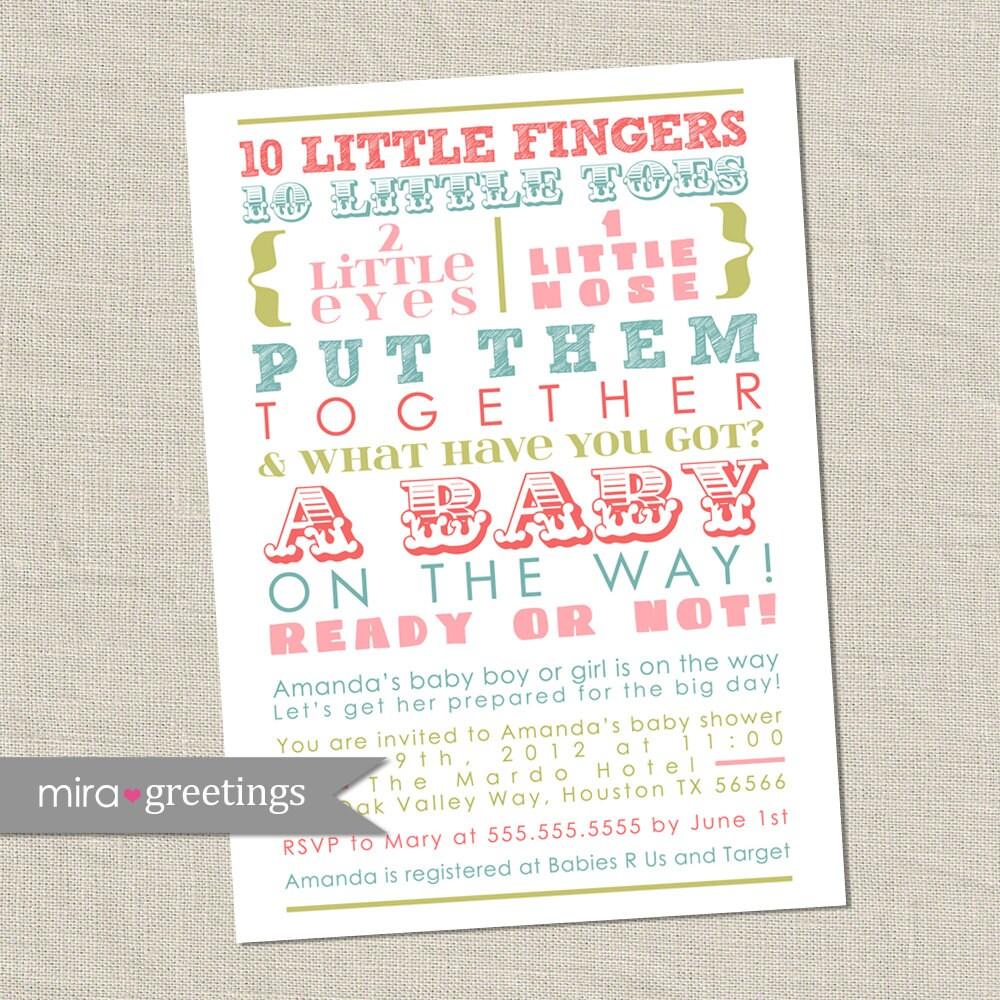 Pastel Baby Shower Invitation words gender neutral baby