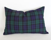 Blue Green Blackwatch Plaid Pillows, Traditional  Plaid Pillow Covers, Blue Plaid Cushion Covers, Seasonal Decor, 12x18, 12x24