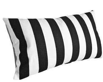 Black White Striped Pillow Covers, 12x18 Lumbar, Striped Throw Pillow, Stripes Cushion Cover, Oblong Pillow, Modern Home Decor