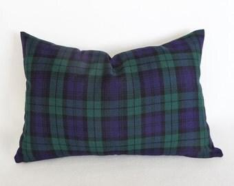 Blackwatch Plaid Pillows, Blue Green Christmas  Plaid Pillow Covers, Blue Plaid Cushion Covers, Seasonal Decor, Lumbar Pillow 12x18, 12x24