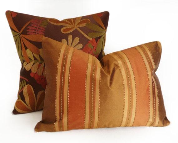 Copper Bronze Striped Pillow, BLACK FRIDAY SALE, Luxuy Silk Pillows, Oblong, Lumbar, Cushion Cover, Modern Mens Style, Home Decor, 14x20