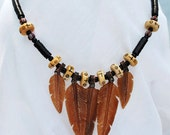 Tribal Buffalo Bone Feather Necklace