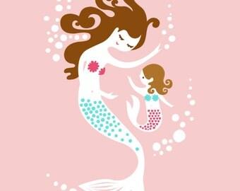 "mermaid mother & daughter 8X10"" giclee art print on fine art paper. pink, bright teal, brunette"