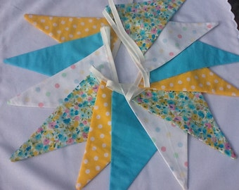 Spring bunting - yellow, turquoise, 12 flags, Fabric Garland, Wedding Bunting, Girl's Bedroom