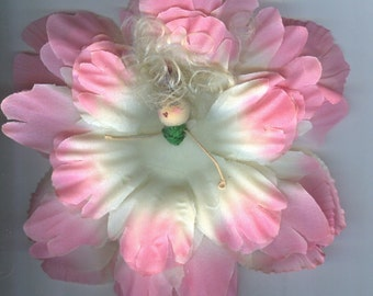 Deluxe Blonde Flower Fairy with Pink and White Petals