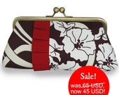 Graceful vine Clutch brown with red pleats