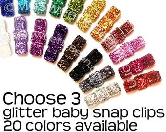 Mini Glitter Hair Clips, Glitter Snap Clips, Choose 3 Sparkly Tuxedo Bows, Glam, Glittery, Shiny, Newborn Baby Toddler Girls