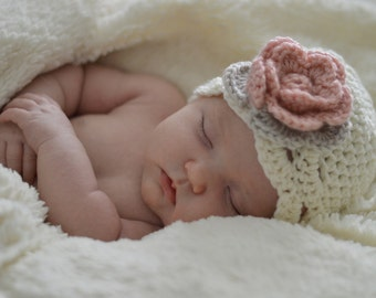 Baby flower flapper hat cream with pink and linen