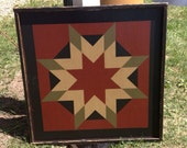 PriMiTiVe Hand-Painted Barn Quilt, Framed 2' x 2' Harvest Star Pattern