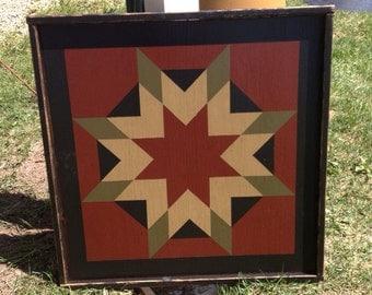 PriMiTiVe Hand-Painted Barn Quilt, Small Frame 2' x 2' - Harvest Star Pattern (Cinder Version)