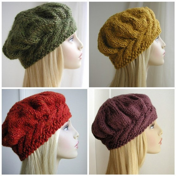 Cable Beret Knitting Pattern : Weekend Cable Beret Tam Hat Knitting Pattern