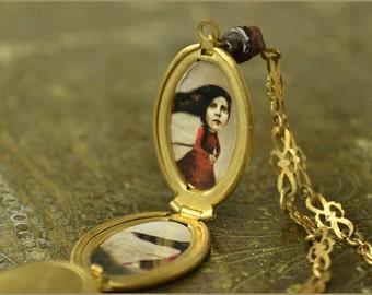 "Illustrated tale locket 4 illustration details ""loosing my shoe""  -wearable art -  illustrated jewelry"