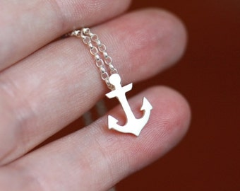 Tiny anchor necklace - sea - sterling silver - nautical