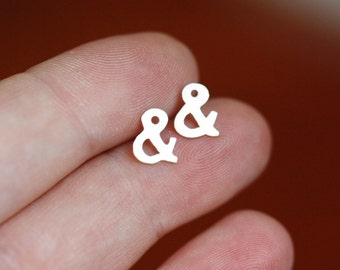Ampersand post earrings - tiny - sterling silver - studs