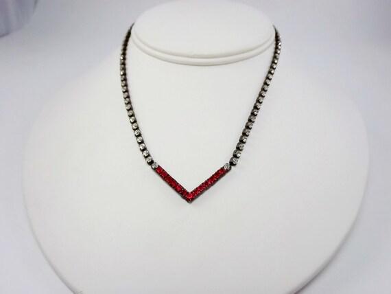 Art Deco Red Rhinestone Chevron Necklace Vintage Jewelry