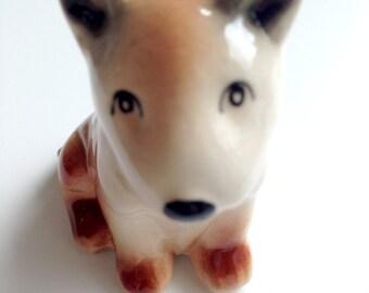 Dog figure, White Ceramic Dog Figure, ceramic figure, animal figure, dog figurine, animal figurine, brown, black, spot, decoration, decor