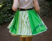 Green and Green striped Vintage inspired Summer skirt with lace y bows