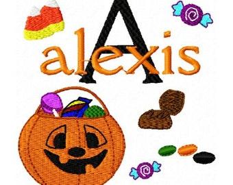 Halloween Pumpkin Jack o Lantern Candy Monogram Fonts Machine Embroidery Designs - 4x4 Hoop Instant Download Sale