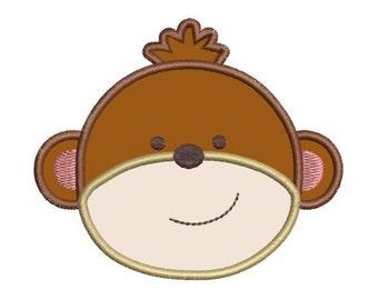Applique Monkey Face Jungle Machine Embroidery Designs 4x4 & 5x7 Instant Download Sale