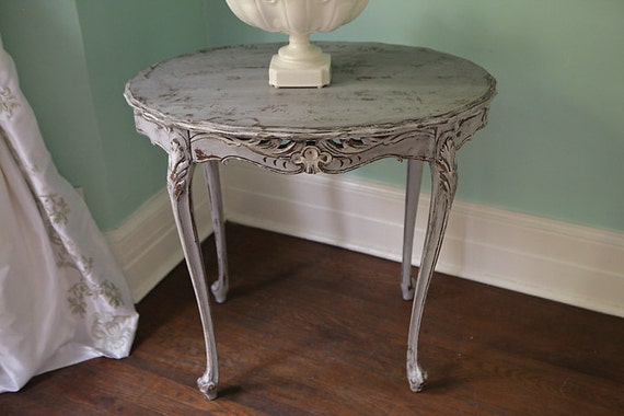 Oval French Table Antique Shabby Chic Gray White Distressed
