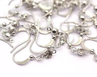 Silver Hooks, Rhinestone, 30 Nickel Free Silver Brass Ear Wires With Rhinestone, Earring Findings (20mm) Brs 1990 A0922