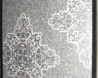 BOHO Silver .. Magnet Dry Erase Steel Memo Board / Housewarming gift / Office Decor / Organization / Desk / Message Board / Damask /