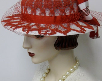 Red and White Doily Boater