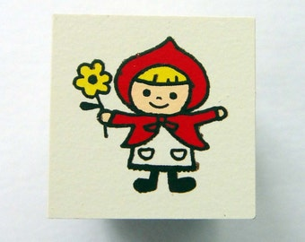 Cute Little Red Riding Hood Girl Holding Flower Japanese Rubber Stamp