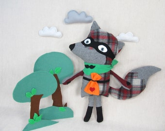 Bandit Fox - Handmade, Stuffed Animal, Toy, Children, Plush, Kids, Boy