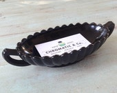 Black Glass Scallop Bowl with Handles - Vintage - Business Card Holder
