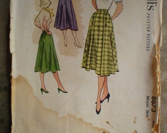 Vintage 1951 McCall's 8673 Full Button Accent Skirt