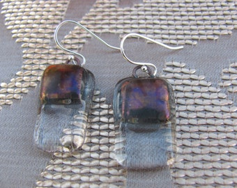 Irridescent gray with clear glass dangly earrings