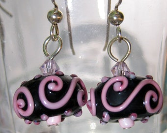 Black and Pink Lamp Work Beads Earrings with Crystal Accent Bead Dangle Earrings