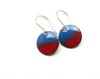 Red and Blue Dangle Earrings - Modern Enamel Jewelry - Enamel on Copper and Sterling Silver - Gift for Wife