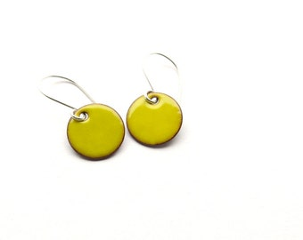 Yellow Enamel Earrings - Yellow Earrings - Small Dangle Earrings - Sunny Yellow - Enamel Jewelry / Candies