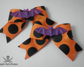 Set of Two Halloween Purple Bat Hair Bow Clips