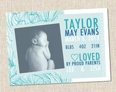 Flower Wave Pattern Custom Printable Digital Baby Birth Announcement Card - TAYLOR Turquoise Blue