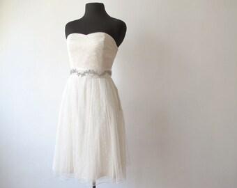 Daphne - Polka Dot Tulle Short Strapless Wedding Dress