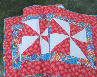 Quilted Table Runner - Red White Blue Pinwheels - Long Table Runner