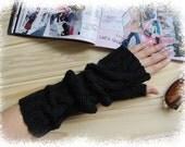 Long Black arm warmer fingerless wool gloves,cool!