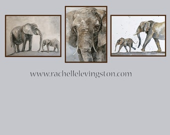 elephant nursery art elephant home decor painting elephant toddler room decor elephant boy room decor Watercolor Painting PRINT SET