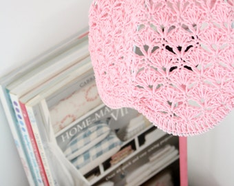 Crochet Lampshade - Baby Pink