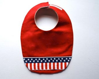 Americana Baby Bib with Vintage Flag Trim and Organic Flannel - Red White and Blue Feeding Drooling Bib - For Eco Friendly Modern Kids